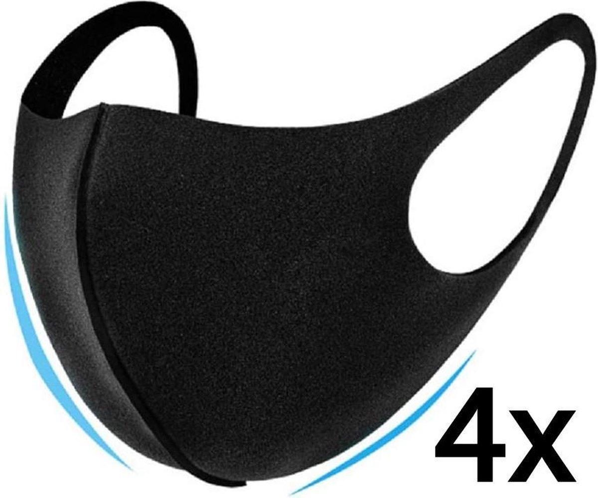 Mondmasker 4 stuks zwart - Merkloos