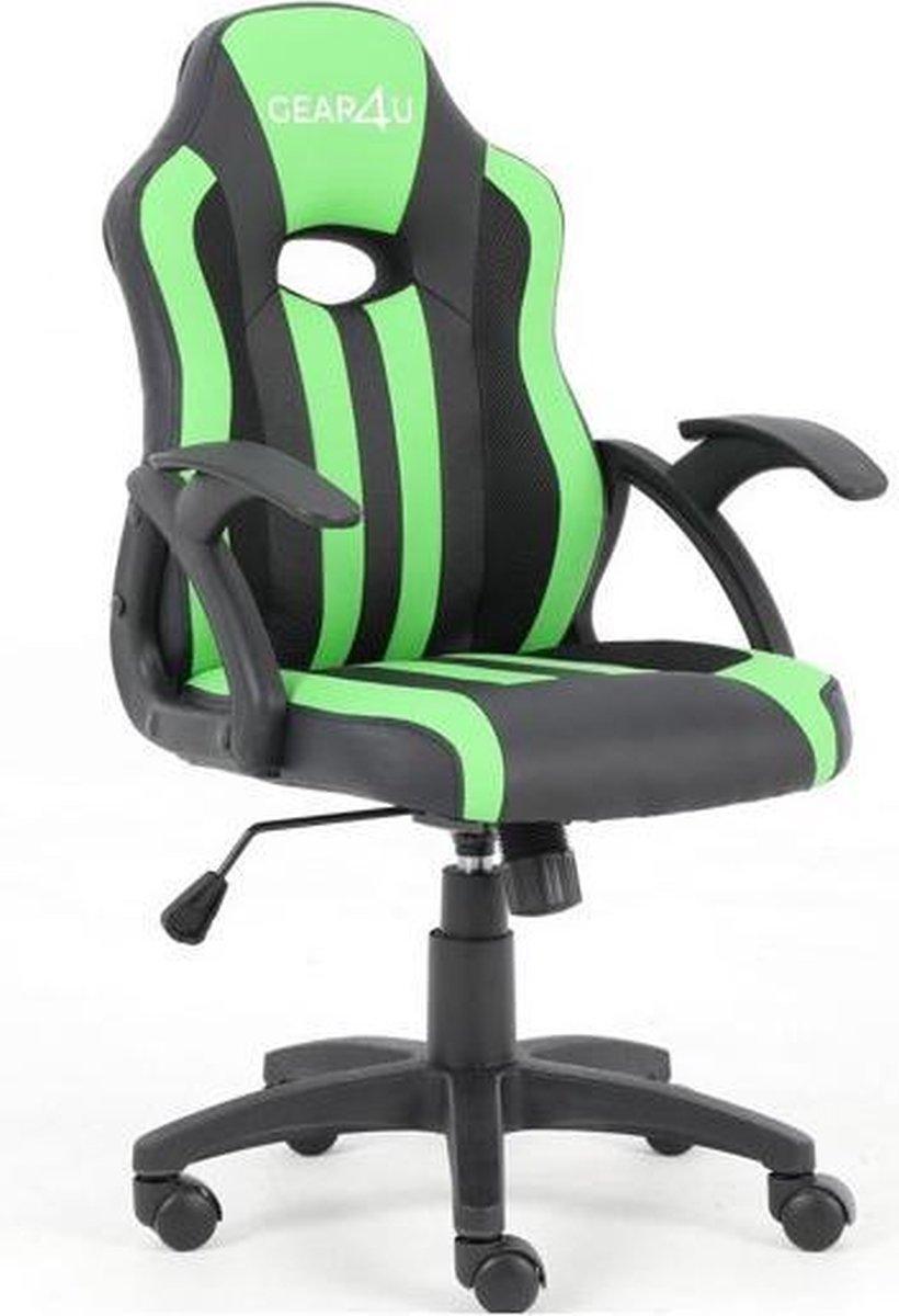 Gear4U Junior Hero gaming stoel - gamestoel voor kinderen / game stoel voor kinderen - zwart / groen