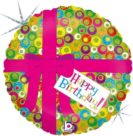 Folie cadeau sturen helium gevulde ballon Gefeliciteerd/Happy Birthday roze strik 46 cm - Folieballon verjaardag versturen/verzenden