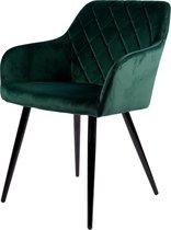 Mila Eetkamerstoel - Groen | Velours | Velvet | Zwart stalen poten | Design eetkamerstoel