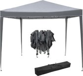Partytent opvouwbaar draagbaar - easy up paviljoen party tent - tentdoek 210D Oxford - 3 x 3 m - grijs