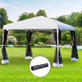 Vouwtent - Tuinpaviljoen - Opvouwbare Partytent - Modern ontwerp - Pop-up - 4 Klamboe mesh zijwanden - 3 x 3 m - Wit