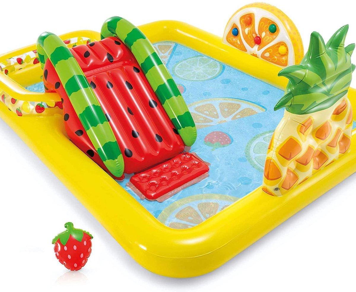 Intex Fun 'N Fruity Play Center zwembad. Lekker spetteren of heerlijk van de glijbaan in het zwembad, alles mag! DYROX - opblaasbaar - kinderen - tuin - park - camping