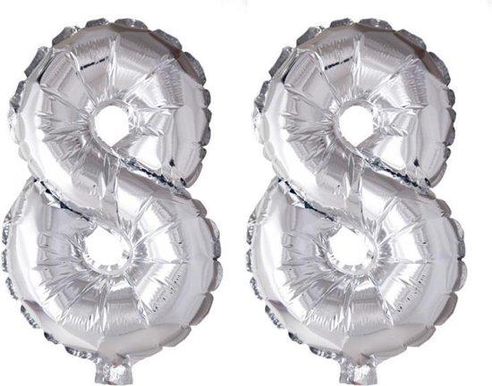 Folieballon 88 jaar zilver 86cm