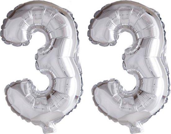 Folieballon 33 jaar zilver 86cm