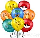 Pokémon ballonnen 10x Feestpakket Verjaardag Versiering Pikachu - Squirtle - Bulbasaur - Charmander - Pokémonbal ballon - Set 10 stuks