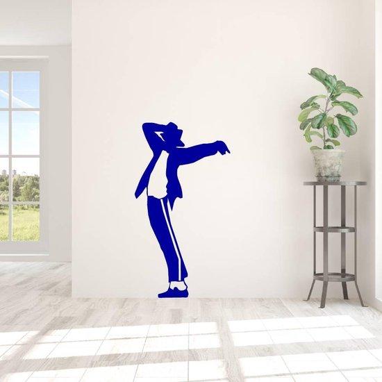 Muursticker Michael Jackson -  Donkerblauw -  88 x 160 cm  - Muursticker4Sale