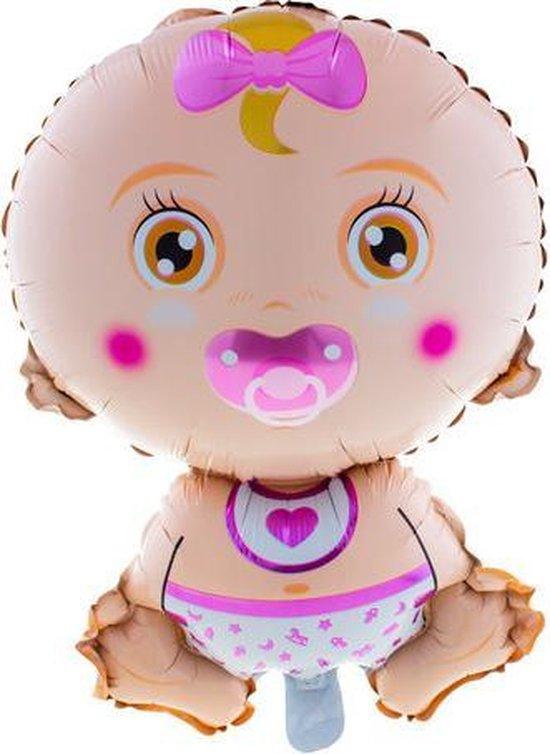 Folieballon Baby roze geboorte meisje