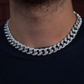 ICED OUT Zilvere Cuban Chain - Cuban Ketting - 15mm - 20 inch / 50 cm