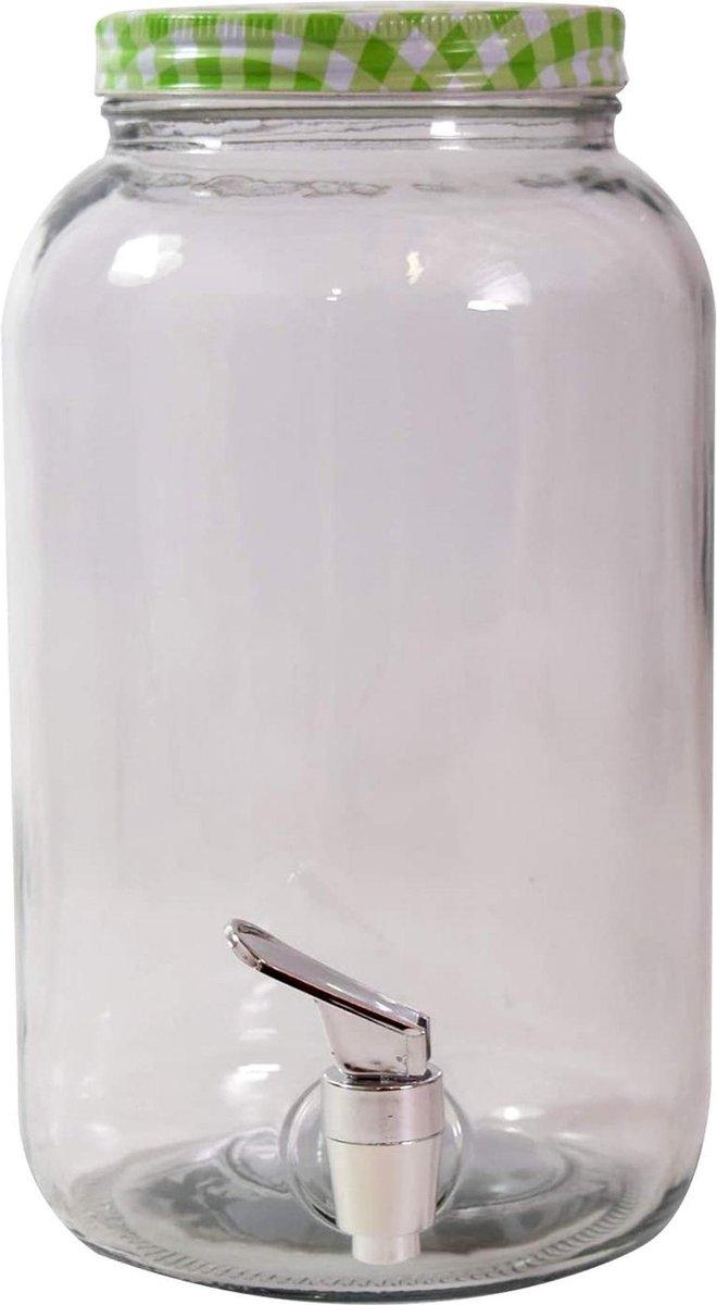 Glazen drank dispenser / limonadetap 3 liter groen - waterdispencer met tapkraantje - Merkloos