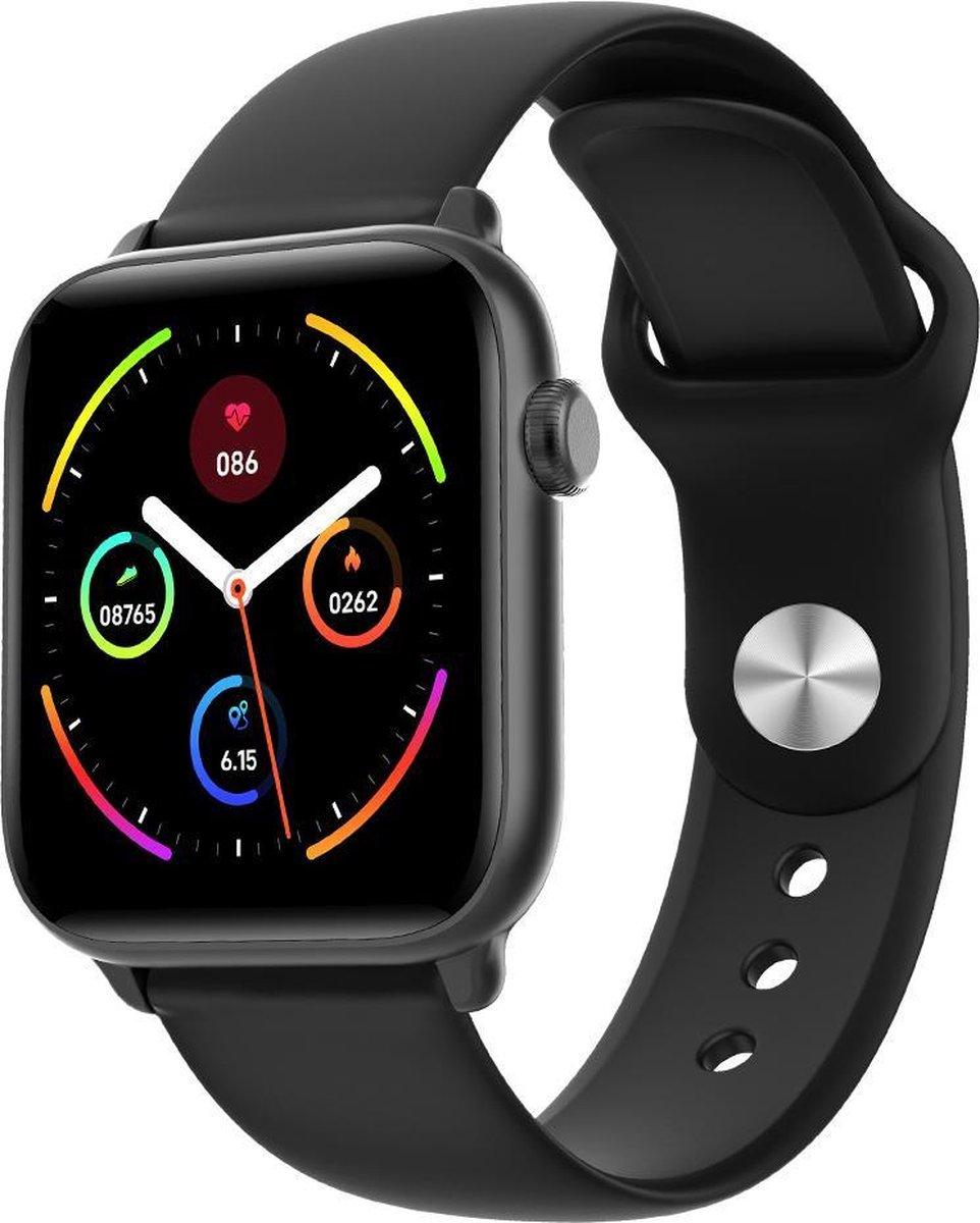 Belesy® Pro - Smartwatch Dames - Smartwatch Heren - Horloge - 1.3 inch - Kleurenscherm - Full Touch - Stappenteller - Zwart - Siliconen kopen