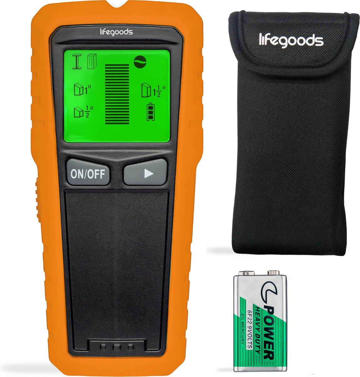 LifeGoods Digitale Leidingzoeker - 5 in 1 Detector voor Muren - Hout, Metaal, Leidingen, Bedrading