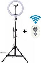A SUNNY DAY LED Ringlamp met statief (verstelbaar) incl telefoonhouder en bluetooth afstandsbediening - 26 cm/10 inch -186 cm hoog  - USB - TikTok - Ringlight - flitser - Ring lamp - Vlog - Make-up light - Studiolamp