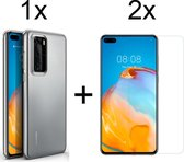 Huawei P40 Hoesje Transparant - Siliconen Case - 2 x Tempered Glass ScreenProtector