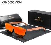 KingSeven - Orange Oculos Bamboo UV400 en Polarisatie filter