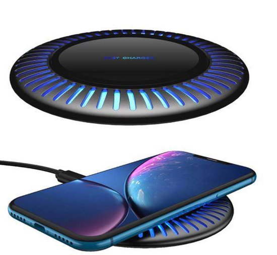 SAMMIT® Draadloze Qi Snellader- Draadloze Oplader voor Iphone- Wireless Charger Samsung- Wireless Fast Charger- Oplaadstation- Draadloos Laden- Apple iPhone 11/ Pro/ Max / X / XS / XR / XS / 8 / Samsung Galaxy / S8 / S9 / S10 / Edge / Note / Huawai
