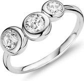 Silventi 943284387-54 Zilveren ring - ronde zirkonia Ø 6 en 5 mm - maat 54 - zilverkleurig