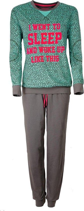 Grappige dames pyjama van 100 % katoen. Groen- F7.