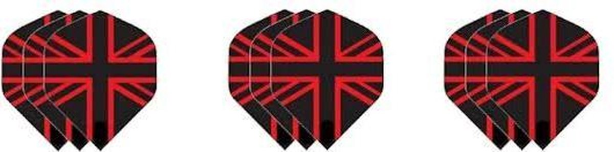3 sets (9 stuks) Dragon darts Britse vlag zwart rood dart flights - darts flights