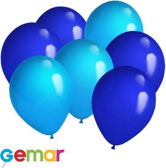 30x Ballonnen Lichtblauw en Blauw (Ook geschikt voor Helium)