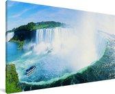 Panorama Niagarawatervallen Canvas 160x80 cm - Foto print op Canvas schilderij (Wanddecoratie woonkamer / slaapkamer)