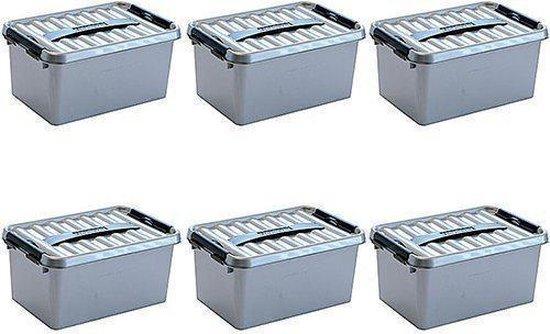 Sunware Q-Line Opbergbox - 6L - 6 Stuks - Metallic/Zwart