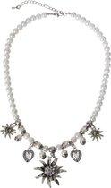 Oktoberfest - Parelketting dames thema Oktoberfest met edelweiss bloemen - verkleedkleding sieraden