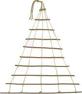 Natuurlijke handgemaakte deco hanger, adventskalender, raamdecoratie in de vorm van een kerstboom, gemaakt van wilg met jute koord, Maat 60x70cm (zonder verlichting)