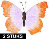 2x Oranje/lila metalen vlinder 40 cm tuinversiering - Schuttingdecoratie/tuindecoratie vlinders