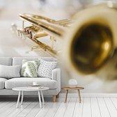 Fotobehang vinyl - Speciale afbeelding van een goudkleurige trompet breedte 375 cm x hoogte 300 cm - Foto print op behang (in 7 formaten beschikbaar)