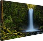 Jungle waterval Canvas 30x20 cm - klein - Foto print op Canvas schilderij (Wanddecoratie woonkamer / slaapkamer)