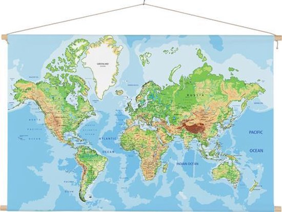 Wereldkaart op schoolplaat wanddecoratie 60x40 cm ronde stokken - Textielposter
