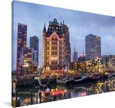 Boten afgemeerd in de wateren van Rotterdam Canvas 90x60 cm - Foto print op Canvas schilderij (Wanddecoratie woonkamer / slaapkamer) / Europese steden Canvas Schilderijen