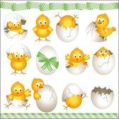 20x Pasen thema servetten kuikentjes 33 x 33 cm - Paasontbijt tafeldecoratie papieren wegwerp servetjes - Pasen versieringen/decoraties