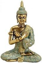 Boeddha beeldje goud/groen 33 cm - Tuin decoratie/woonaccessoires Boeddha beelden
