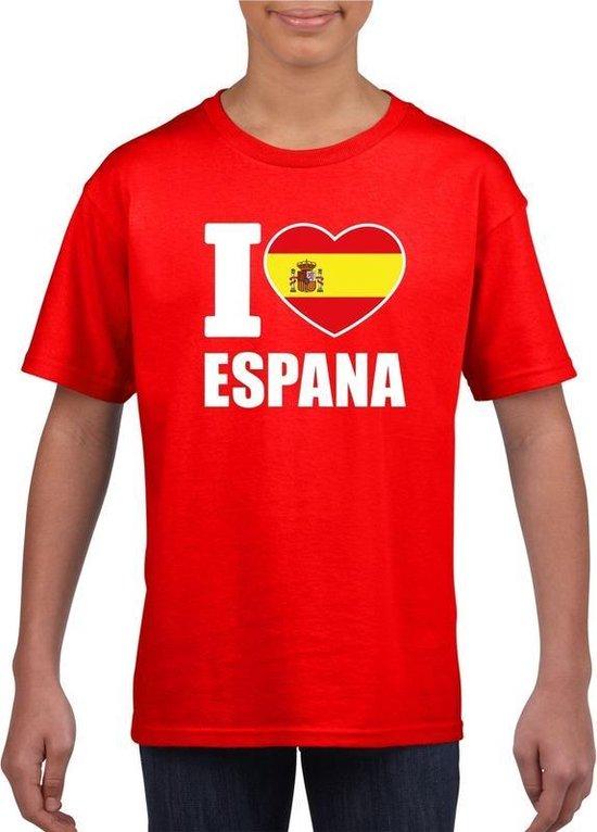 Rood I love Spanje fan shirt kinderen M (134-140)