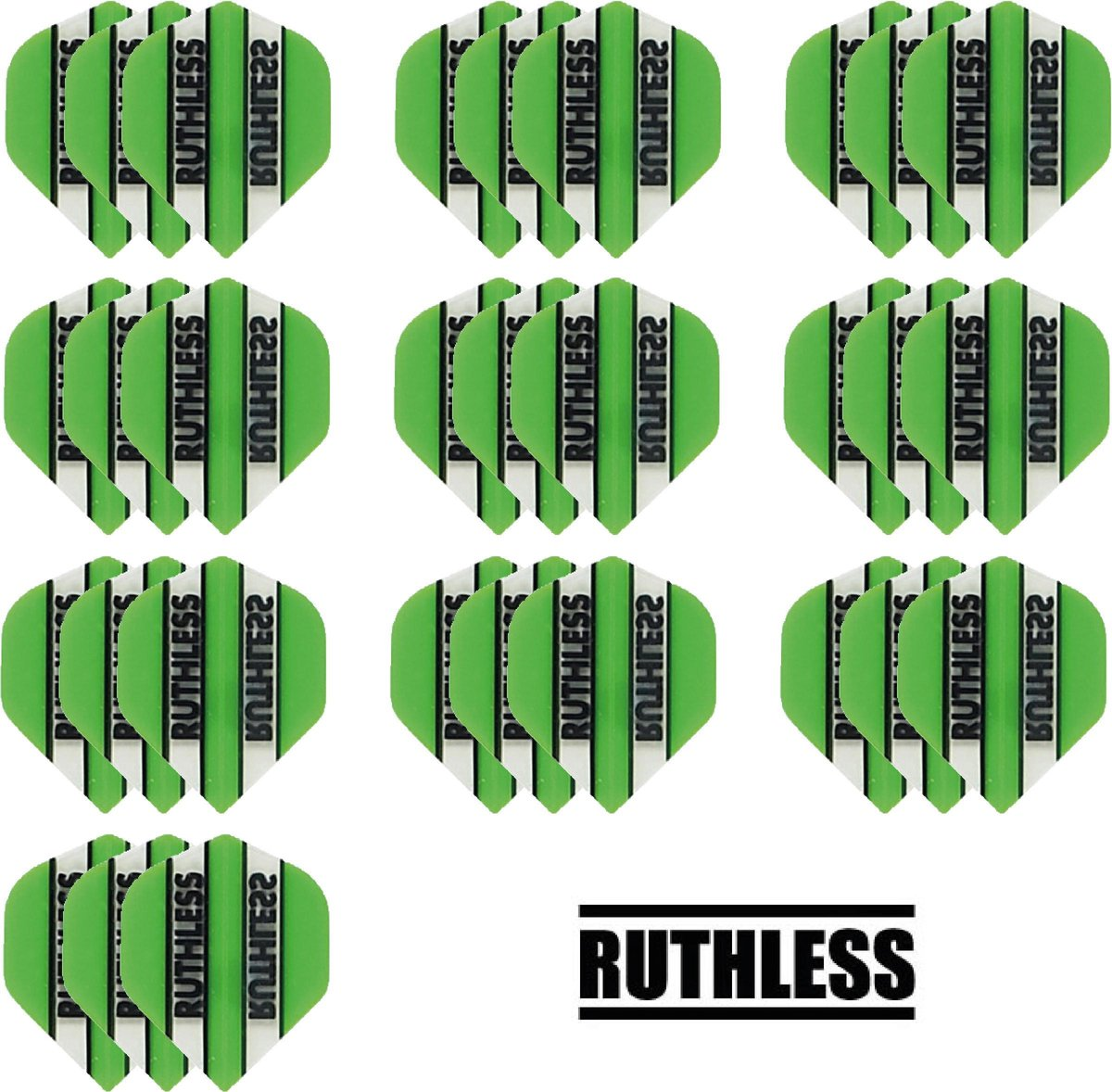 deDartshop 10 Sets (30 stuks) Ruthless flights Multipack - Groen - darts flights