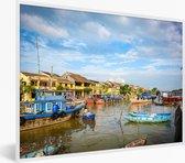 Foto in lijst - Thu Bon-rivier met huizen bij Hoi An in Vietnam fotolijst wit 40x30 cm - Poster in lijst (Wanddecoratie woonkamer / slaapkamer)