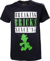 Nintendo - T-shirt Groen - Breaking Bricks Luigi - S
