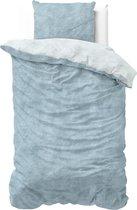 Sleeptime Flanel Twin Washed Cotton - Dekbedovertrek - Eenpersoons - 140 x 200/220 + 1 kussensloop 60x70 - Blauw