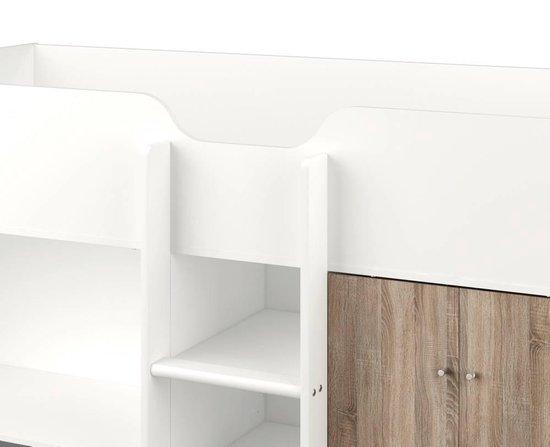 Tvilum Irma - Hoogslaper - 90x200 cm - Wit/Bruin - Met opbergkast - Tvilum