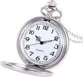 Opengewerkt Vintage Kettinghorloge - Zakhorloge  - Pocket Watch - Horloge - Zilver