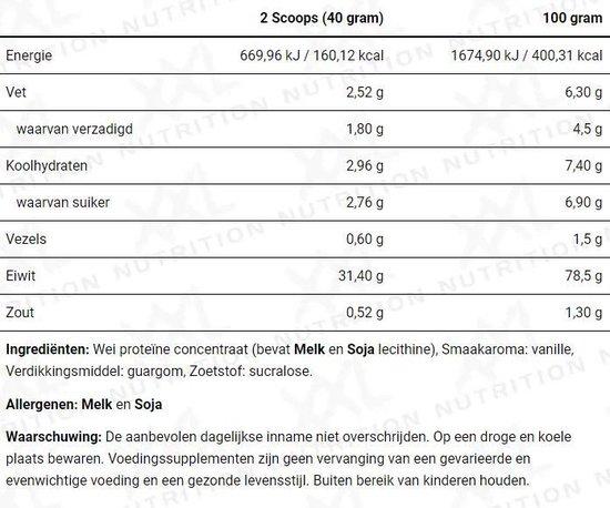 XXL Nutrition Perfect Whey Protein - Proteïne Poeder / Proteïne Shake - Vanille 750 gram