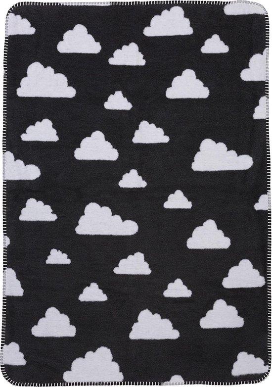 Meyco Little clouds wiegdeken - 75 x 100 cm - zwart