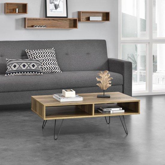 [en.casa]® Moderne salontafel - pinpoten - Preston - houtlook - en.casa