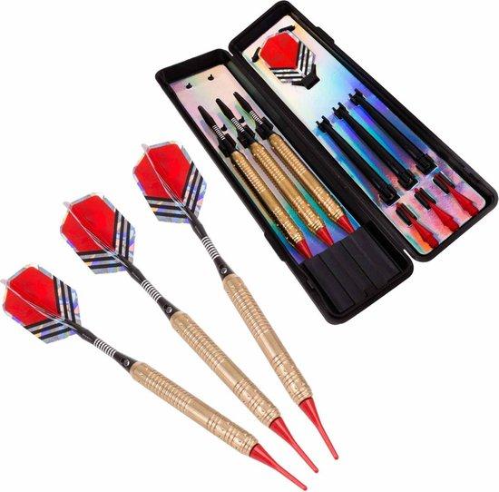 Afbeelding van het spel #DoYourDart - 3x Soft Dartpijlen - »RedArrow« -  incl. case voor opslag + 6x PET Dart flights - perfecte grip, koperen barrel | Aluminium shaft gewicht dart: 18,4g - goudkleurig