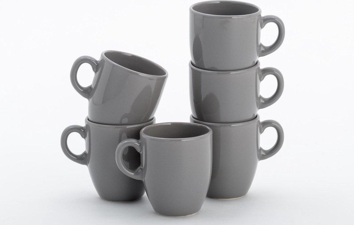 Lite-Body Hermes Koffie beker 20 cl - Set van 6 stuks - Aardewerk - Grijs