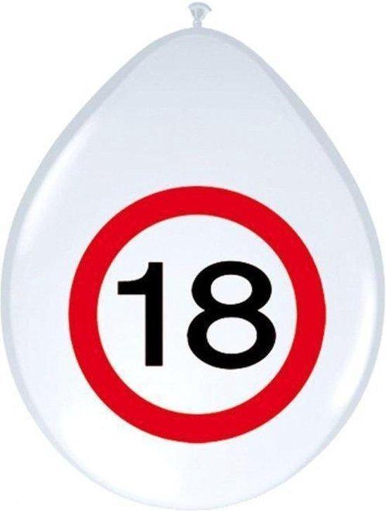 Benza - Ballon Verkeersbord - Leeftijd, verjaardag 18 Jaar