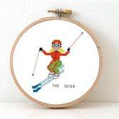 Vrouwlijke Skier borduurpakket | DIY kado voor skileraar | Ski vakantie souvenir | Ski hut decoratie | winter borduurpakket inclusief borduurring DMC garen en stof |  Ski borduurpakket voor volwassenen vrouw