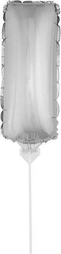 Zilveren opblaas letter ballon I op stokje 41 cm